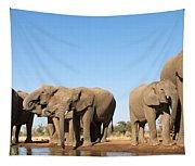 Thirsty Elephant Herd Tapestry