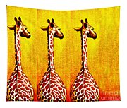 Three Amigos Giraffes Looking Back Tapestry