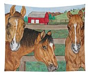 Three Beautiful Horses Tapestry