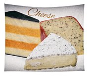 Three Cheese Wedges Distressed Text Tapestry