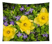 Three Daffodils In Blooming Periwinkle Tapestry