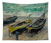 Three Fishing Boats Monet 1886 Tapestry