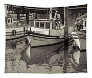 Three Little Boats Sepia Tapestry