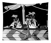 Three Maskers In  Black And White Tapestry