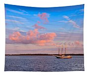Three Masted Schooner At Anchor In The St Marys River Tapestry