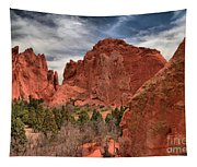 Three Red Towers Tapestry
