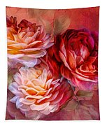 Three Roses Red Greeting Card Tapestry