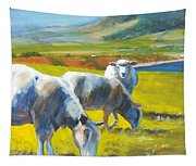 Three Sheep On A Devon Cliff Top Tapestry