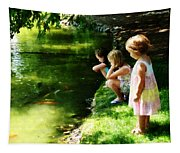 Three Sisters Watching Koi Tapestry