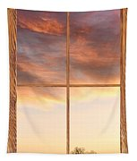 Three Trees Sunrise Barn Wood Picture Window Frame View Tapestry