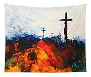 Three Wooden Crosses Tapestry