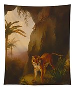 Tiger In A Cave Tapestry