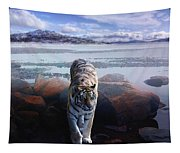 Tiger In A Lake Tapestry