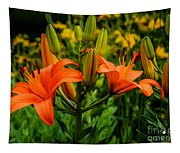 Tiger Lily Blossoms Tapestry