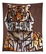 Tiger Majesty Typography Art Tapestry