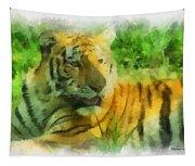 Tiger Resting Photo Art 01 Tapestry