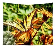 Tiger Swallowtail On Yellow Wildflower Tapestry
