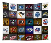 Time To Lace Up The Skates Recycled Vintage Hockey League Team Logos License Plate Art Tapestry