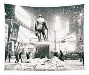 Times Square In The Snow - New York City Tapestry