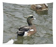 Adorable Tiny Duck Swimming Tapestry