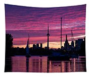 Toronto Skyline - The Boats Are Coming In Tapestry