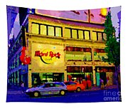 Toronto Street Scene Night Scapes Hard Rock Cafe Downtown Drive By City Lights Canadian Art Cspandau Tapestry