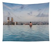 Tourists At Infinity Pool Of Marina Bay Tapestry