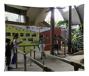 Tourists In A Queue At One Of The Exhibits Inside The Jurong Bird Park Tapestry