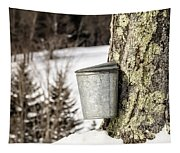 Traditional Sap Bucket On Maple Tree In Vermont Tapestry