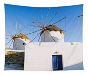 Traditional Windmill In A Village Tapestry