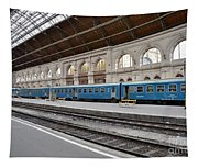 Train At Station Platform Budapest Hungary Tapestry