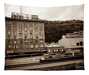 Train Passes Station Square Pittsburgh Antique Look Tapestry