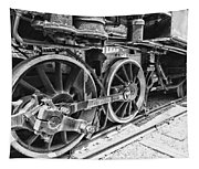 Train - Steam Engine Wheels - Black And White Tapestry