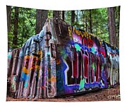 Train Wreck Art In The Forest Tapestry