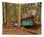 Train Wreck Canvas Among The Trees Tapestry