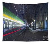 Tram At Night In Zurich Bahnhofstrasse Tapestry