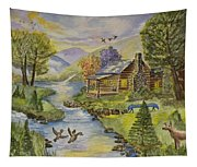 Tranquil Log Cabin Tapestry