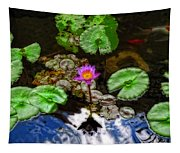 Tranquility - Lotus Flower Koi Pond By Sharon Cummings Tapestry