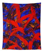 Transitions With Blue And Red  Tapestry
