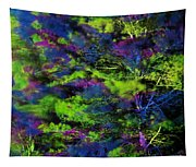 Tree Branches Lit With Abstract Colorful Projection Tapestry