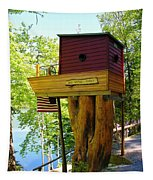 Tree House Boat Tapestry