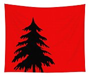 Tree Silhouette On A Red Background 2 Tapestry