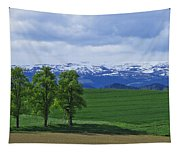Trees With Mountains Tapestry