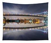 Triboro Bridge Panorama At Night Tapestry