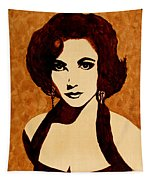 Tribute To Elizabeth Taylor Coffee Painting Tapestry
