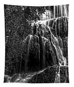 Trinity Waterfall In Monasterio De Piedra Park Bw Tapestry
