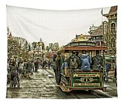 Trolley Car Main Street Disneyland Antique Tapestry