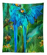 Tropic Spirits - Gold And Blue Macaws Tapestry