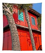 Tropical Orange House Palm Trees - Whoa Now Tapestry