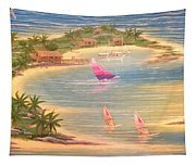 Tropical Windy Island Paradise Tapestry